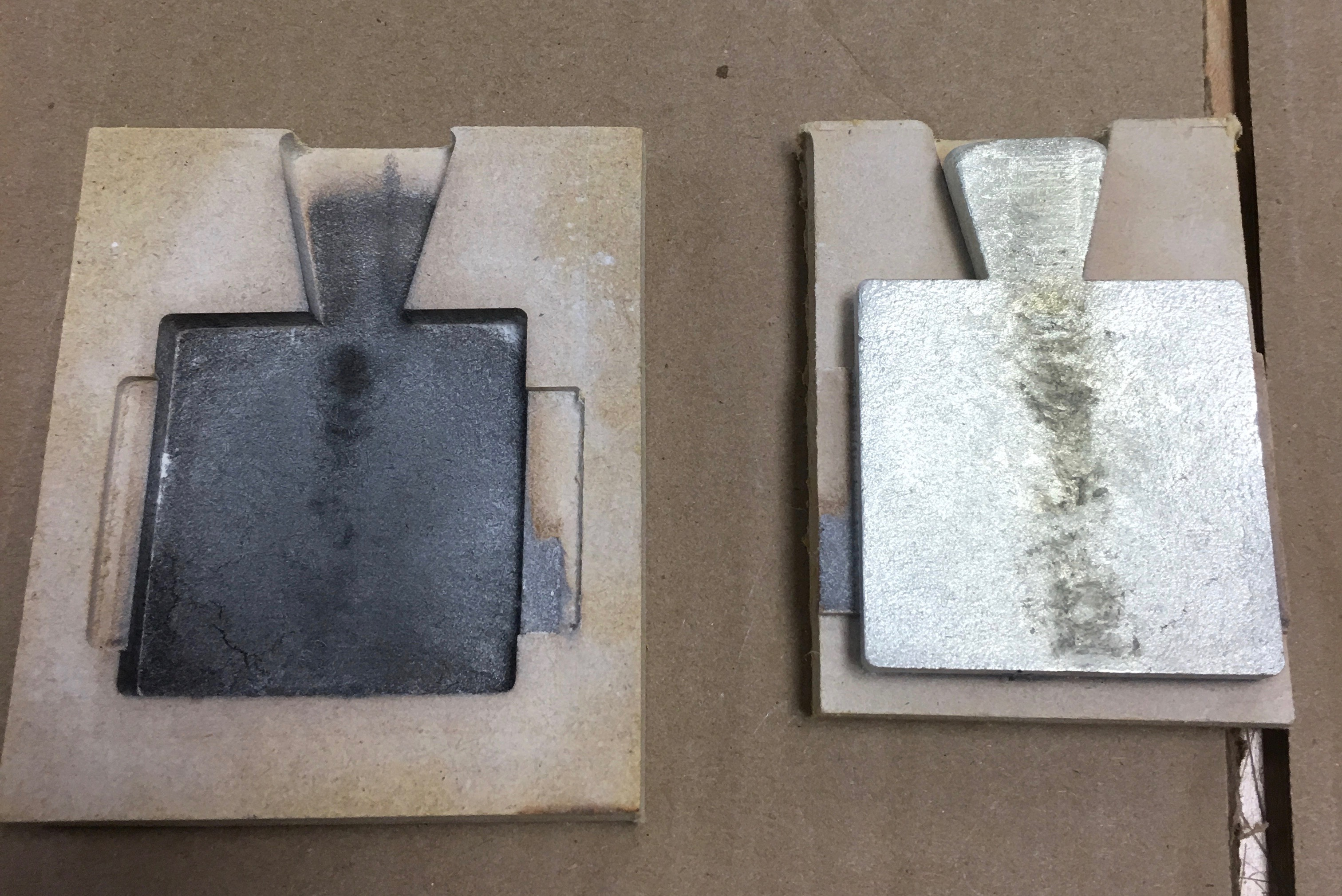 Separate the mold for the CNC milling pewter casting project
